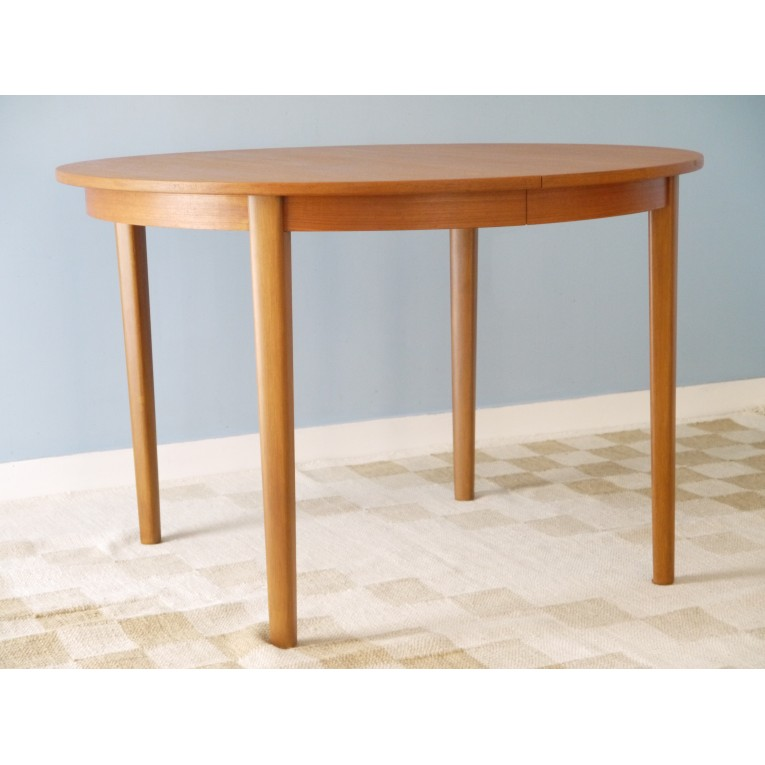 Table de repas vintage scandinave ronde extensible la for Table ronde en bois extensible