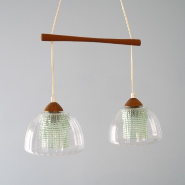 Suspension scandinave vintage teck et verre