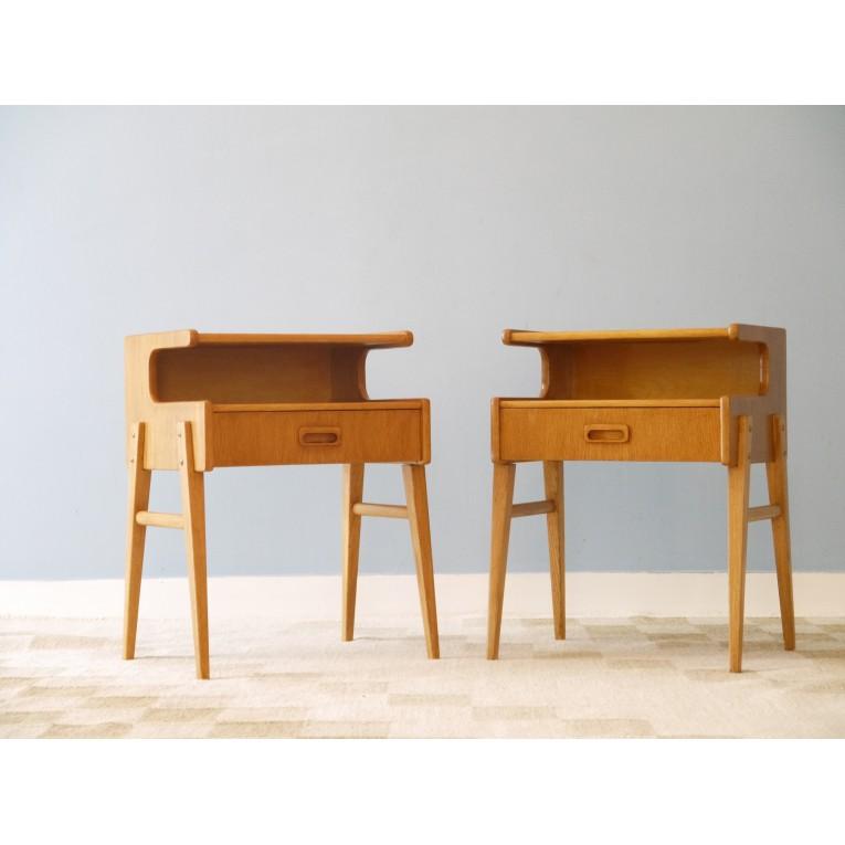 chevets vintage scandinave pieds compas 1960 la maison retro. Black Bedroom Furniture Sets. Home Design Ideas