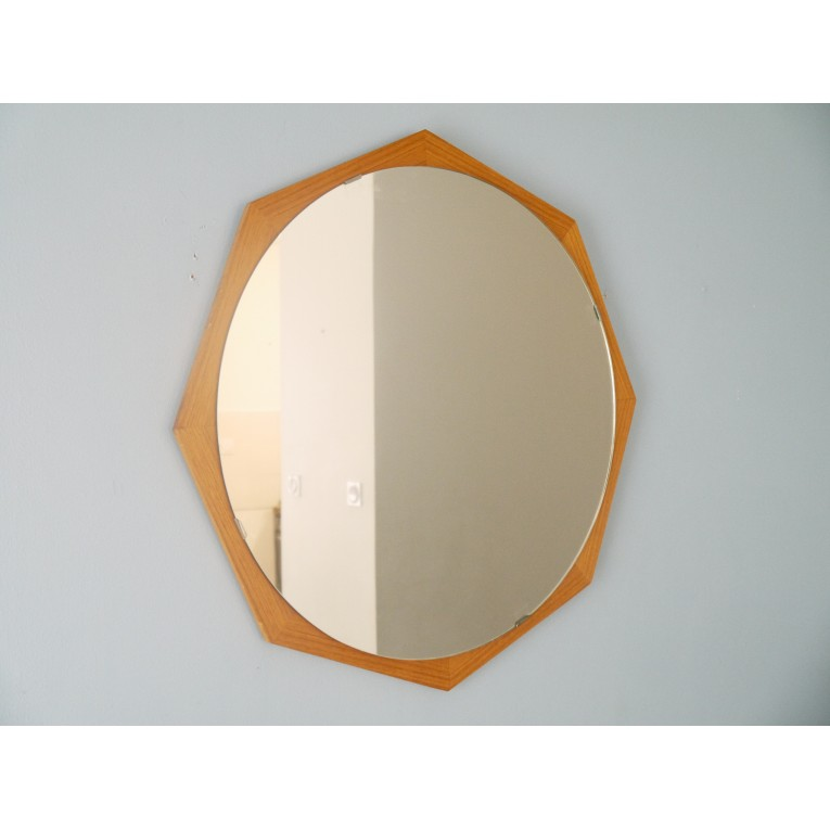 Miroir vintage scandinave hexagonal teck la maison retro for Miroir scandinave