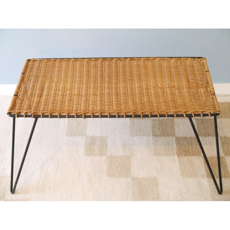 table basse vintage rotin metal la maison retro. Black Bedroom Furniture Sets. Home Design Ideas