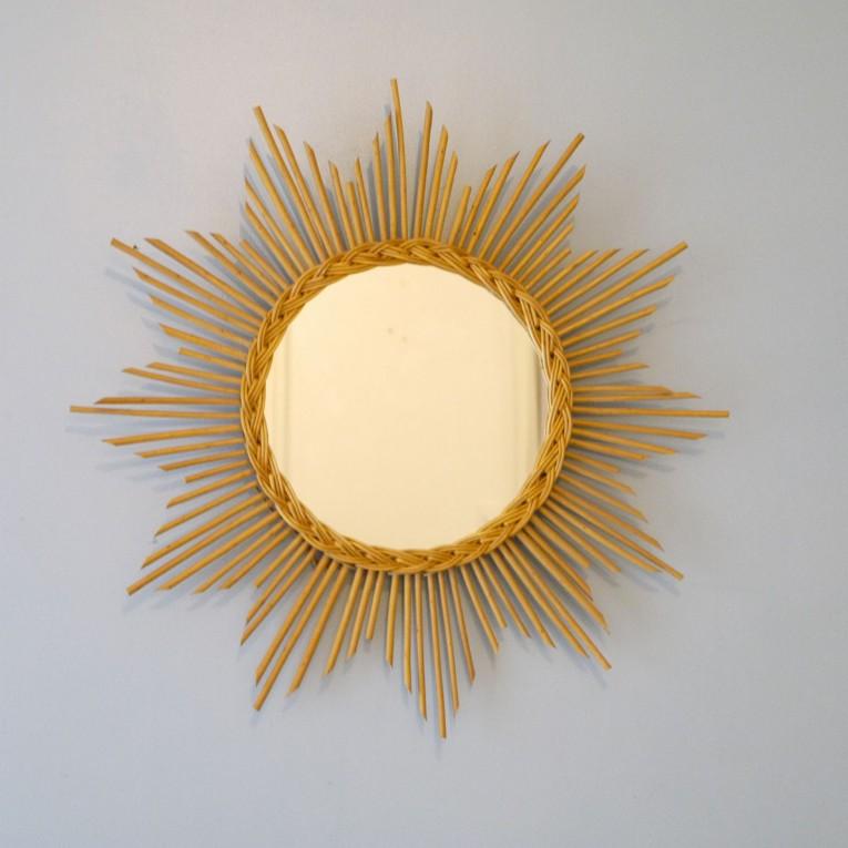 Miroir vintage soleil rotin osier la maison retro - Miroir en rotin vintage ...