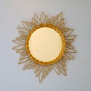 Miroir vintage forme soleil en rotin