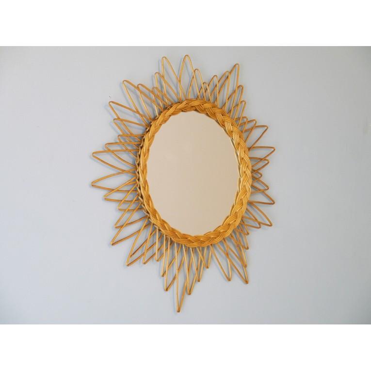 Miroir vintage forme soleil rotin 50 la maison retro for Miroir forme maison