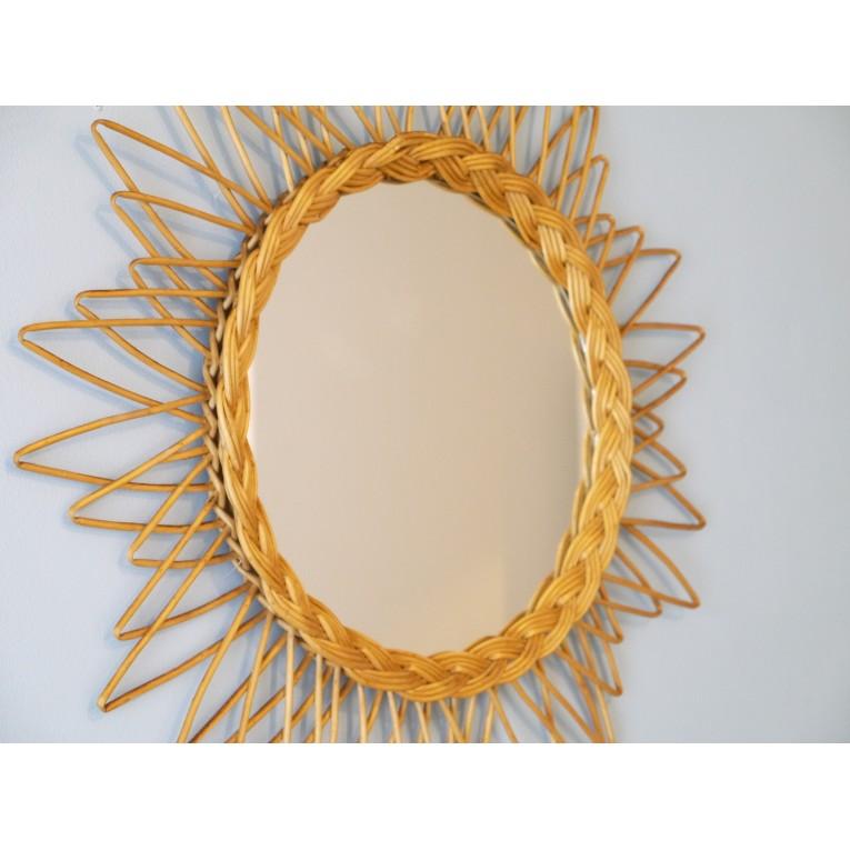 Miroir vintage forme soleil rotin 50 la maison retro - Miroir en rotin vintage ...