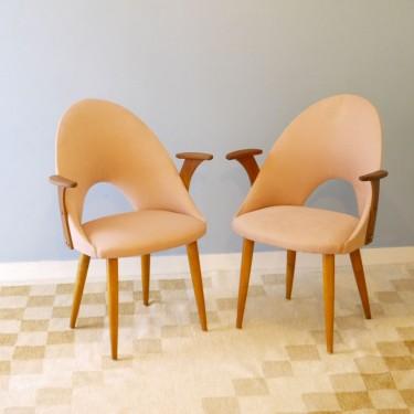 Paire de chaises vintage à accoudoirs 1950
