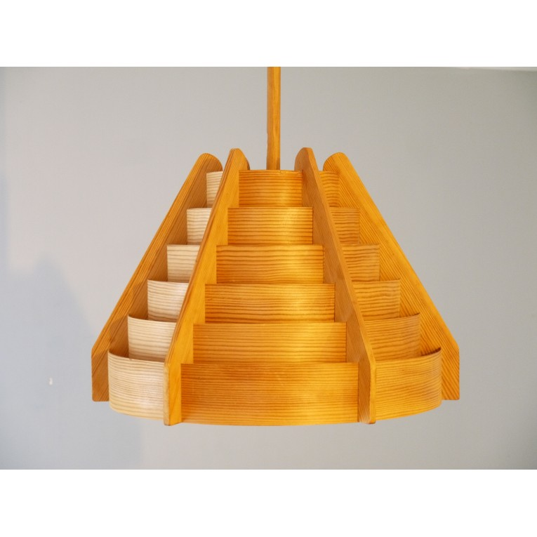 Luminaire suspension design scandinave vintage bois la for Suspension bois