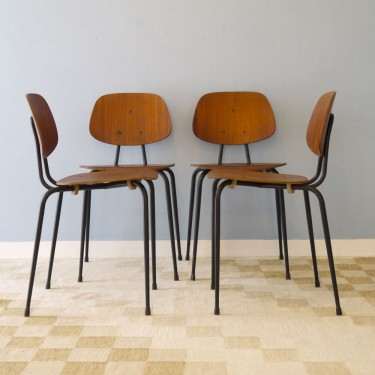 serie de 4 chaises vintage scandinave teck et metal - Chaise Vintage Scandinave