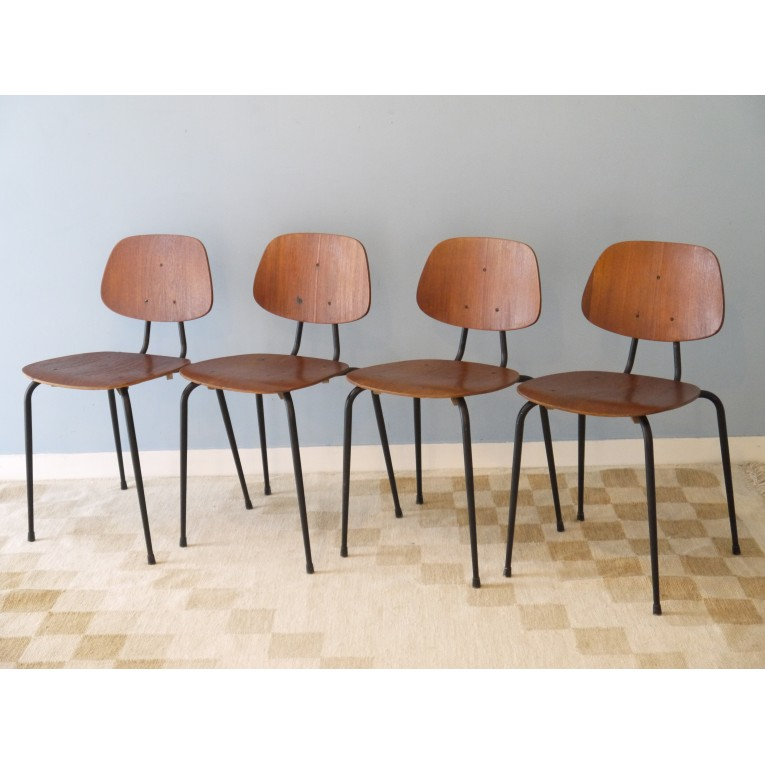 Chaises scandinaves vintage bois metal for 4 chaises scandinaves