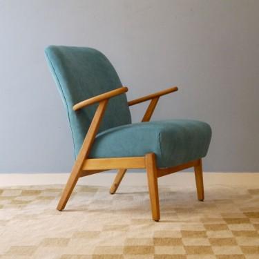 fauteuil vintage scandinave bleu design 50 - la maison retro