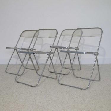 "Serie de 4 chaises italiennes ""plia"" design Castelli"