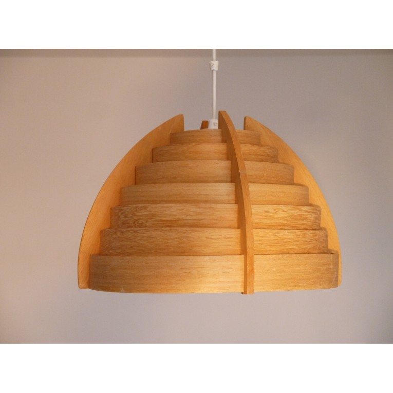 Suspension luminaire vintage bois scandinave la maison retro for Suspension bois