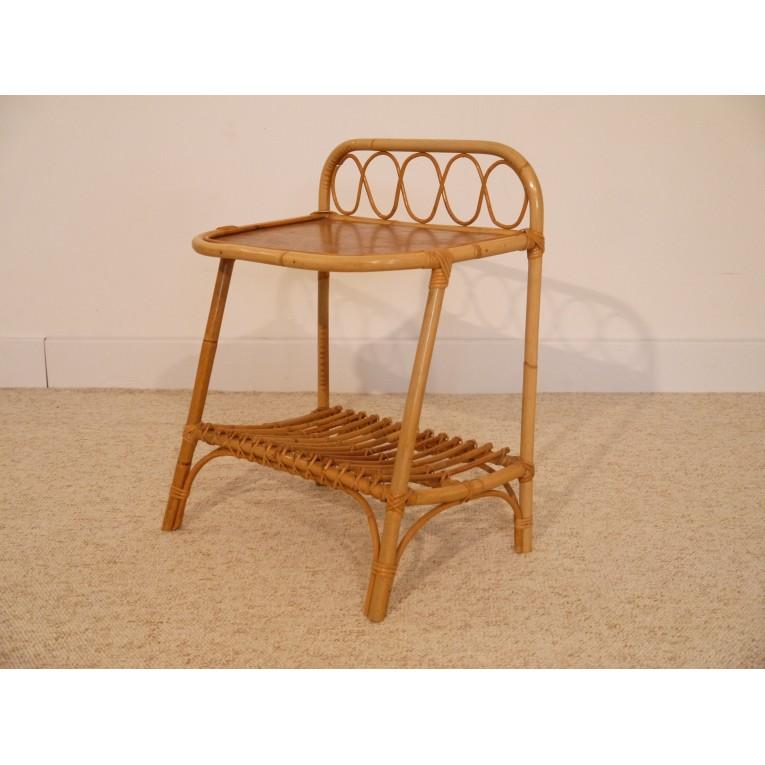 petit meuble vintage appoint chevet rotin - la maison retro