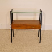 Petit meuble d'appoint vintage scandinave teck et verre