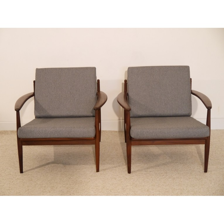 fauteuils design scandinave vintage teck gris grete jalk la maison retro. Black Bedroom Furniture Sets. Home Design Ideas