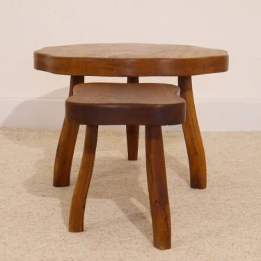Set de tables basses tripode design brutaliste 1950