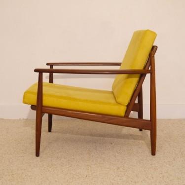 fauteuil vintage scandinave en teck moutarde - Fauteuil Scandinave Moutarde