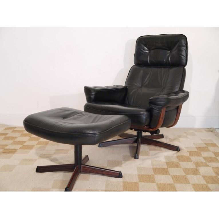 fauteuil cuir scandinave pivotant vintage design la maison retro. Black Bedroom Furniture Sets. Home Design Ideas