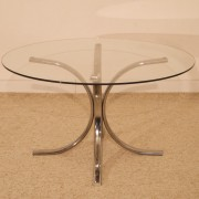 Table basse ronde vintage chrome et verre 1970