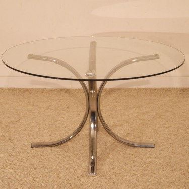 Table basse ronde vintage chrome et verre 1970