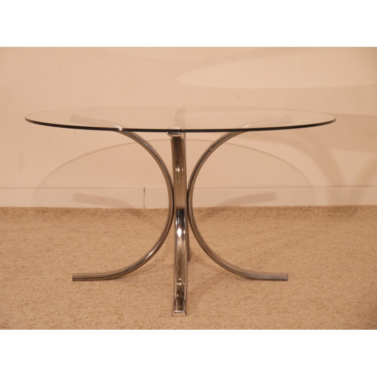 table basse vintage italienne chrome verre 1970 la maison retro. Black Bedroom Furniture Sets. Home Design Ideas