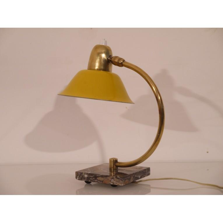 lampe vintage italienne laiton marbre jaune 1960 la maison retro. Black Bedroom Furniture Sets. Home Design Ideas