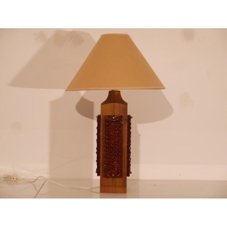 Grande Lampe Vintage Scandinave Bois Verre 1960 La Maison Retro