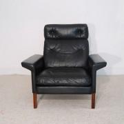 Fauteuil vintage danois 1960 cuir et palissandre