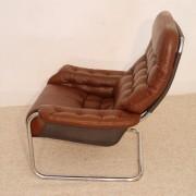 """Fauteuil vintage scandinave en cuir """"Dux"""" 1970"""