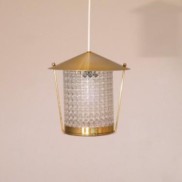 Petite suspension lanterne vintage laiton et verre