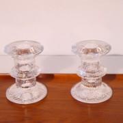 Paire de bougeoirs vintage en verre dlg Iittala