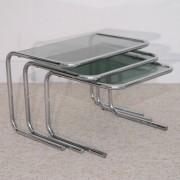 Tables gigognes vintage verre et chrome 1970