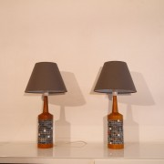 Paire de lampe en teck et ceramique Danemark 1960