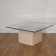 Table basse vintage travertin et verre 1970