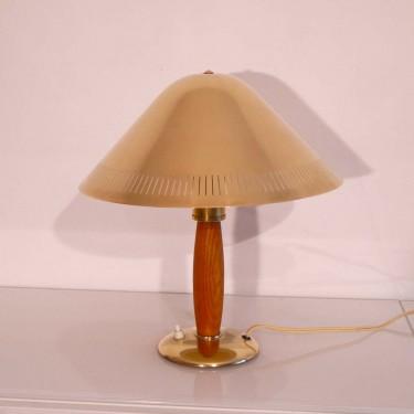 Lampe vintage laiton et bois 1950