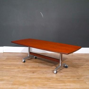 Table basse vintage scandinave teck et métal