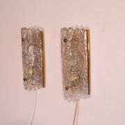 Paire d'applique cristal et laiton Orrefors