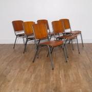 Serie de 6 chaises vintage en teck 1960