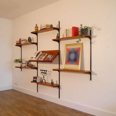 Systeme d'étagères vintage scandinave en teck et metal