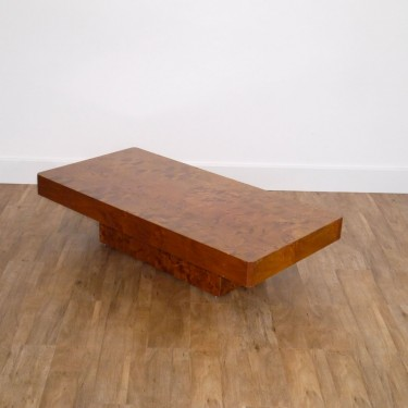 Table basse vintage en loupe d'orme 1970 esprit Willy Rizzo