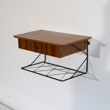 Chevet suspendu vintage scandinave en bois 1960