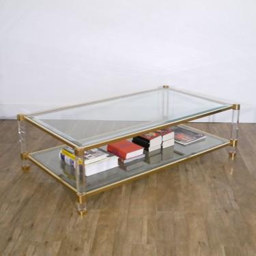 Table basse vintage en verre, métal et lucite1970