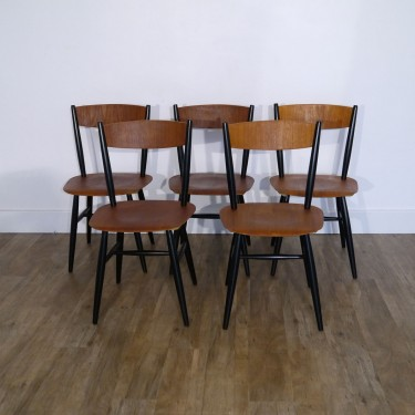 Serie de 5 chaise fanett par Ilmari Tapiovaara