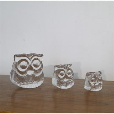 Serie de 3 chouettes en verres de Lars Hellsten pour Skruff