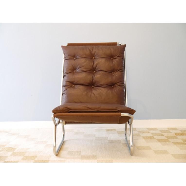 fauteuil vintage scandinave cuir la maison retro. Black Bedroom Furniture Sets. Home Design Ideas