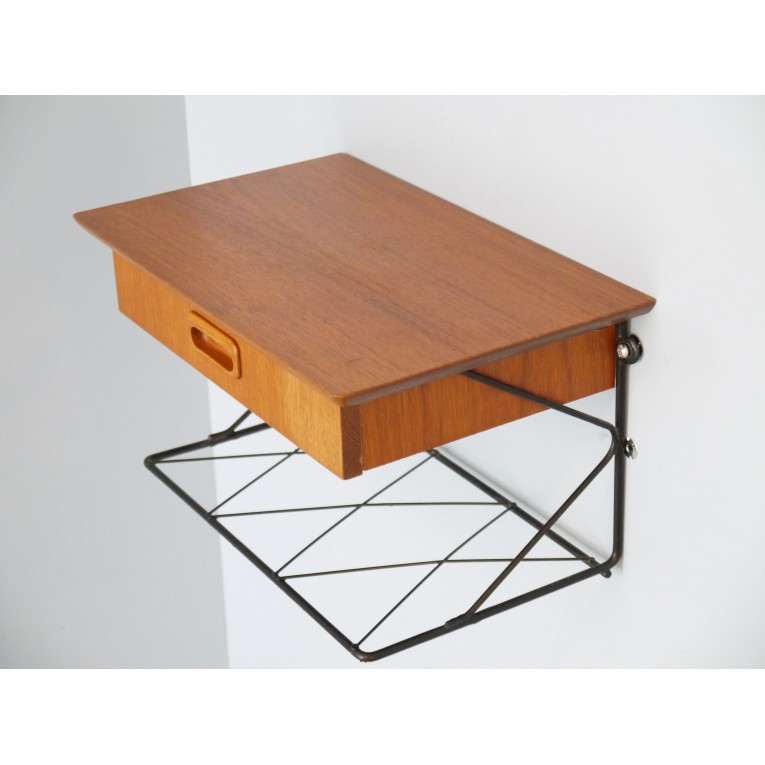 Chevet suspendu string teck la maison retro - Table de chevet suspendu ...