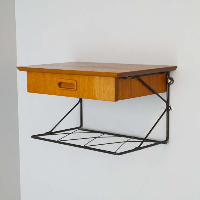Chevet suspendu string teck la maison retro - Table de chevet a suspendre ...