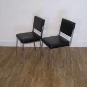 Paire de chaises vintage 1970 métal et skai