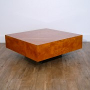 Table basse vintage en loupe d'orme 1970