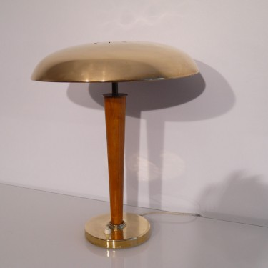 Lampe vintage scandinave en laiton et bois de Borens Suède 1960